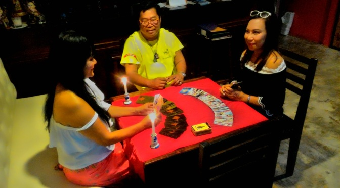 Thai Tarot reader at Laem Maephim